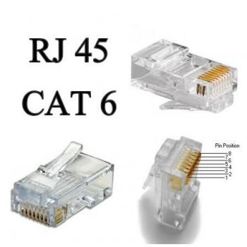 CONECTOR RJ-45, 8 HILOS CAT. 6
